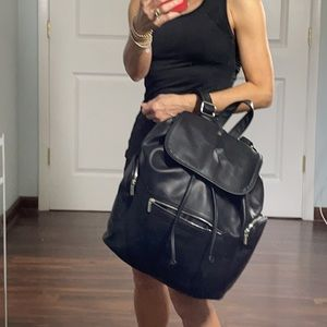 Wild Fable Black Faux Leather Back Pack NWT